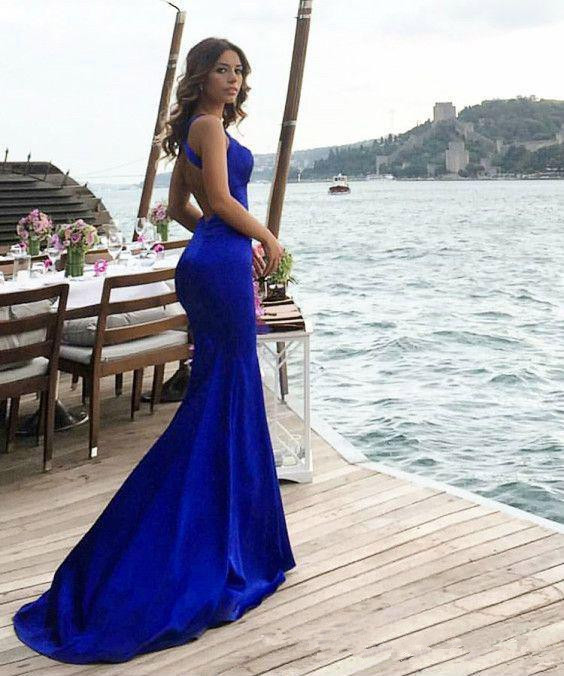 Blue Prom Dress 2019 Mermaid Backless Sexy Long Prom Gown Evening Dresses Robe De Soiree