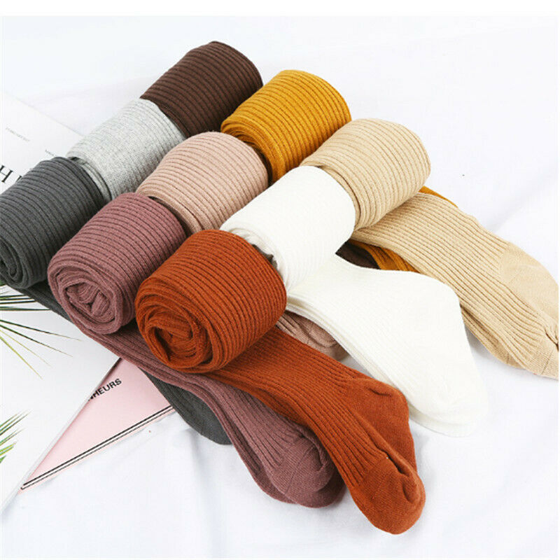 Baby Autumn Winter Tights Hot Baby Toddler Kid Girl Ribbed Stockings Cotton Warm Pantyhose Solid Candy Color Tight 0-4Years