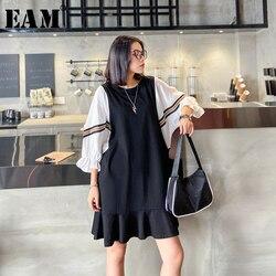 Женское платье EAM, черное платье большого размера с рукавом три четверти и круглым вырезом, весенне-летняя мода 2020 1X425