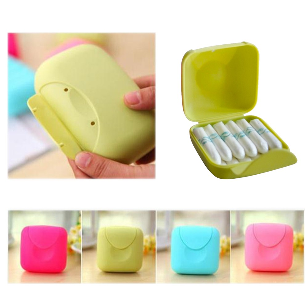 Portable Women Tampons Storage Box Holder Tool Set for Travel Outdoor Color Random