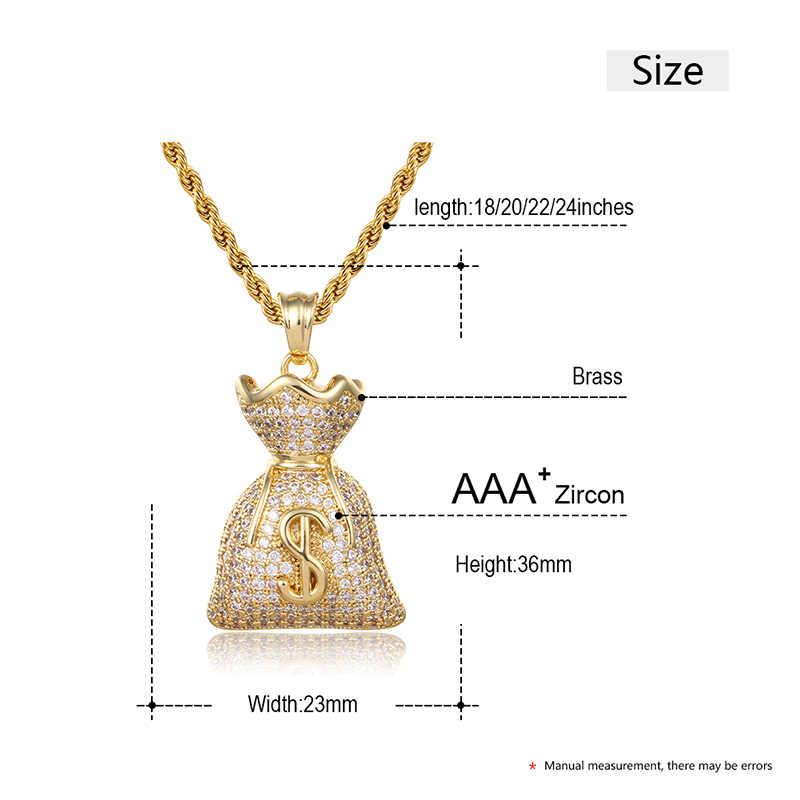 Hip Hop AAA kamień z cyrkonii ustawienie Bling Iced Out worek pieniędzy dolar wisiorek naszyjnik dla mężczyzn Hip Hop biżuteria spadek wysyłka