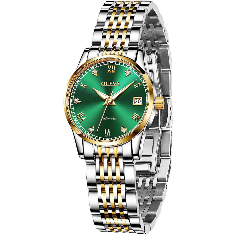 OLEVS 여성 시계 기계식 시계 럭셔리 팔찌 손목 시계 우아한 숙녀 자동 시계 시계 Relogio Feminino