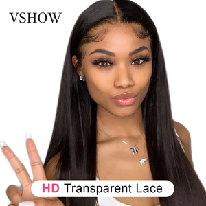 VSHOW Malaysian Straight Lace Front Wigs For Black Women HD Transparent Lace Frontal Wig Remy Hair 180% Density Human Hair Wigs(China)