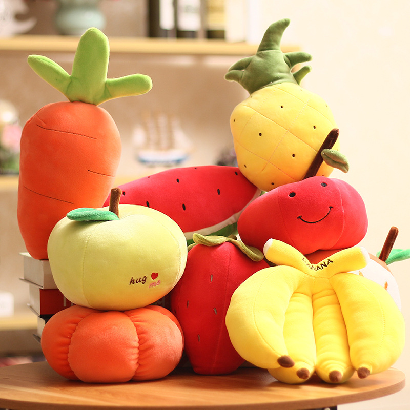 Multiple Styles Fruits Vegetables Plush Doll Strawberry Pumpki Apple Carrot Pineapple Small Pendant Simulation Cartoon Fruit Toy