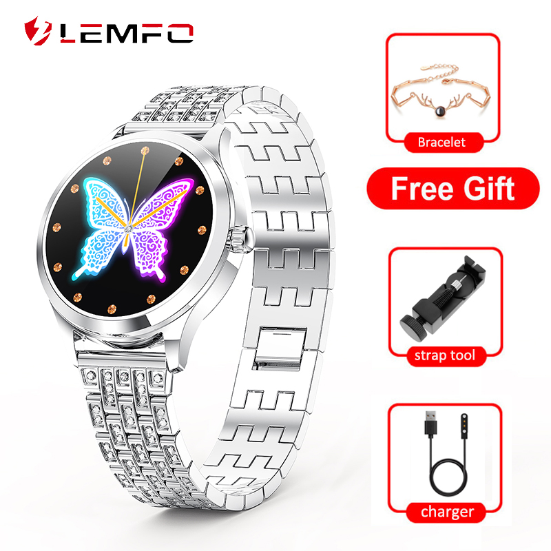 LEMFO LW07 Smart Watch Women IP68 Waterproof DIY Watch Face 2 5D Round Screen Heart Rate Smartwatch 2020 for Girl Lady Gift