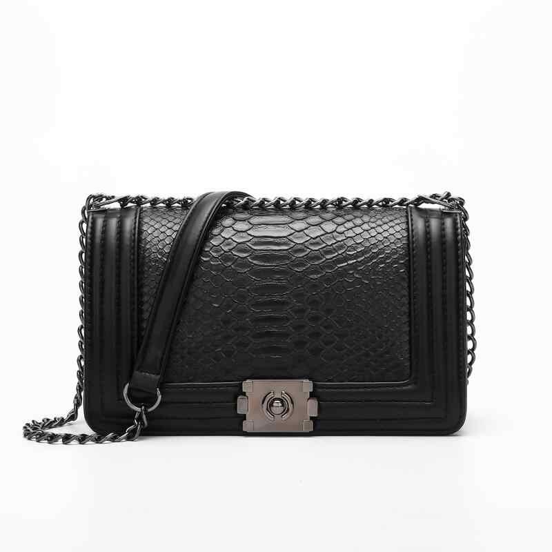 Bolsa feminina kette umhängetaschen für frauen 2019 luxus handtaschen frauen taschen designer Schlange haut frauen tasche Mädchen Schulter taschen
