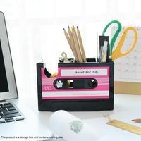 Retro Cassette Tape Pen Stand Storage Box Tape Cutter Desk Organizer Pen Case Holder Stationery Accessories Office Organization|Home Office Storage| |  -