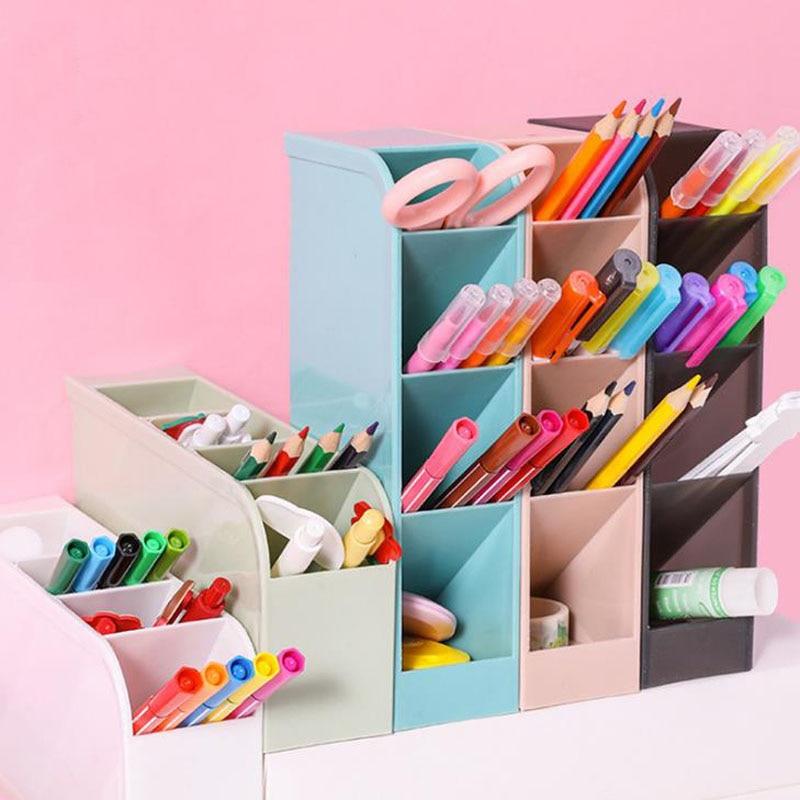 1 Pcs Simple 4 Grid Large Capacity Desk Pen Holders Pencil Makeup Storage Box Desktop Organizer Stand School Office Stationery