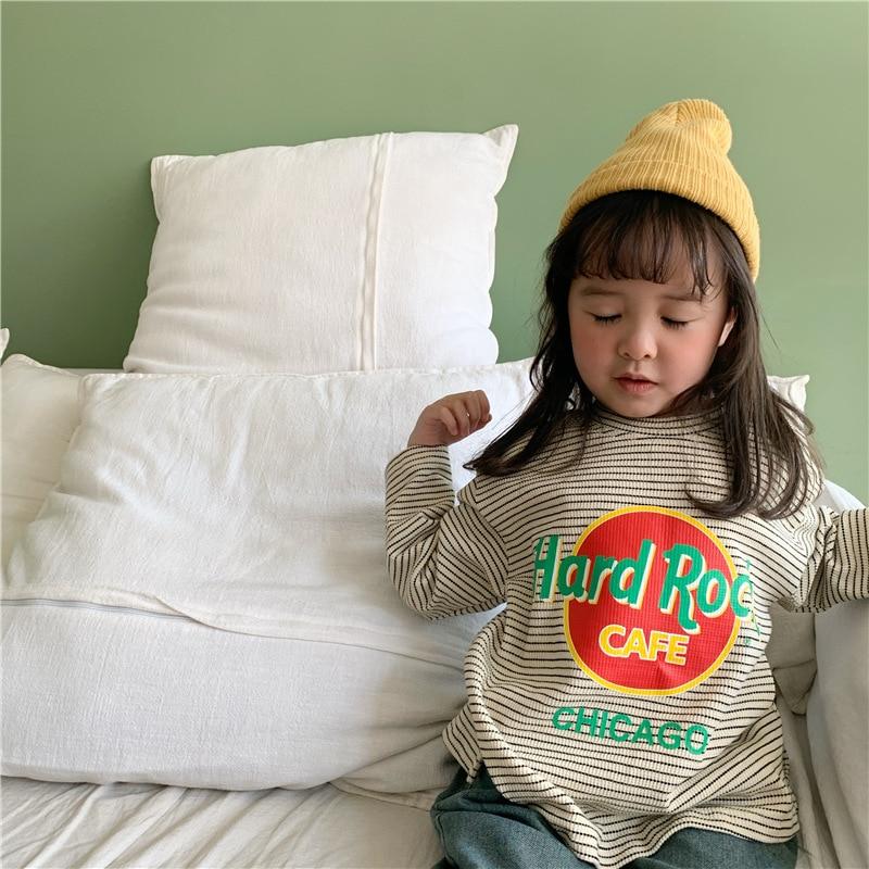 13.64US $  Spring 2020 New  Children's Stripe Cartoon T shirt Long Sleeve  Tshirt for Boys and Girls...