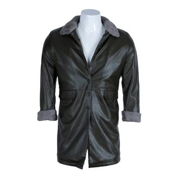 ChangNiu Luxury Leather Jacket Coats Men Single Breasted Black Leather Jackets Faux Fur Inside Long Coat Men Outwear Winter Warm
