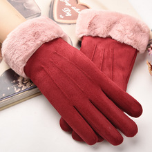 Winter Gloves Cold Warm Suede Female gloves Full Flnger Touch Screen Thickening Plush Lining Wrist