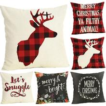 fashion Plaid Merry Christmas Pillow Protective Case Cushion Home Soft Bed Decor Pattern Letters elk Santa