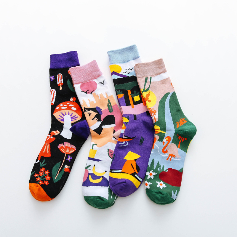 2020 Now Occident Fashion Colorful Print Socks Women With Mushroom Spring Woman Socks Cotton Calcetines Meias Breathable Socks