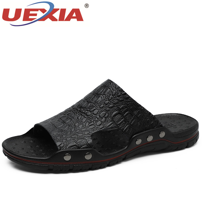 UEXIA Men Slippers Summer Flat 2019 Summer Man Shoes Breathable Beach Slippers Split Leather Flip Flops Mens Slippers Size 38-48