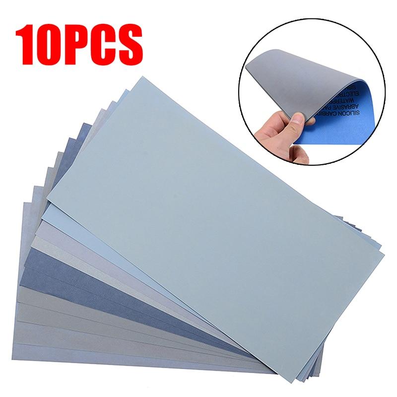 10Pcs Wet Dry Sandpaper 800/1000/2000/3000/5000 High Grit Sandpaper Sheets Assortment For Wood Metal Polishing 21x11cm