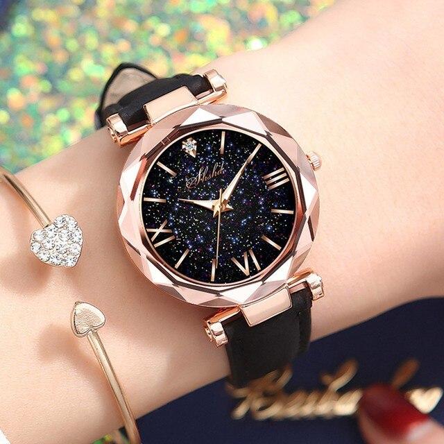 Fashion Roman Scale Watch Women's Quartz Diamond Wristwatch Stars Little Point Frosted Belt Watch Men and Women Casual Watch 2
