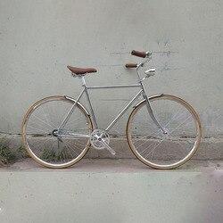 Retro rower srebrny 700C rama rowerowa w stylu vintage  aby śledzić rower jednobiegowy 52cm ostre koło czarny kolorowe oprawki
