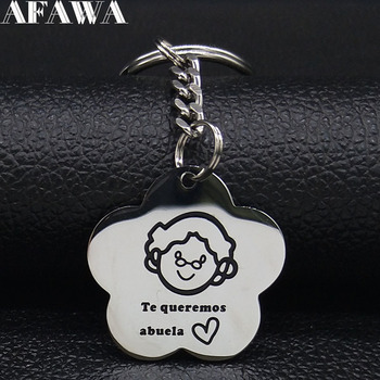 2021 Fashion Te queremos abuela Stainless Steel Keychain for Women Silver Color Key Chain Jewelry llaveros para mujer K701S01 image