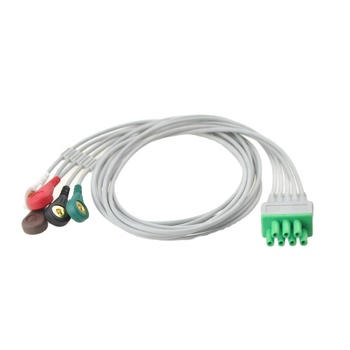 Holter Recorder ECG Patient Cable 7 Pin 3 Leads Snap 4.0 AHA Standard for Mindray EY6302B Telemetry Monitor ECG Leadwire TEL 100 compatible with 15 pin kanz pc109 108 110 1203 1205 ekg machine the one piece 10 leads cable and snap leadwires iec or aha