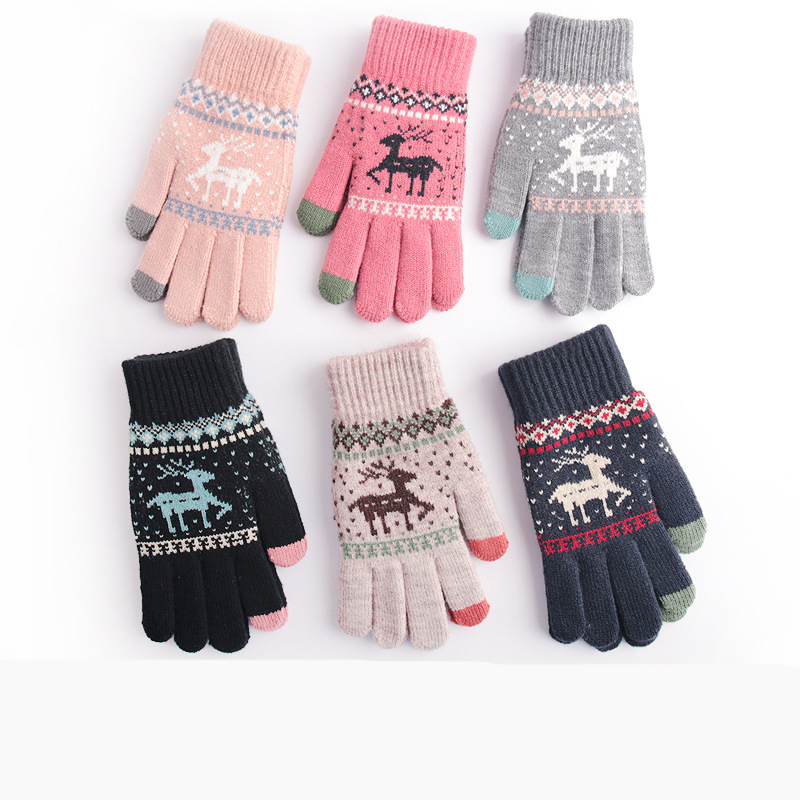 Touch-screen Warm Gloves Women Christmas Elk Mitten Crochte Stretch Knit Mittens Imitation Full Finger Guantes Female Thicken