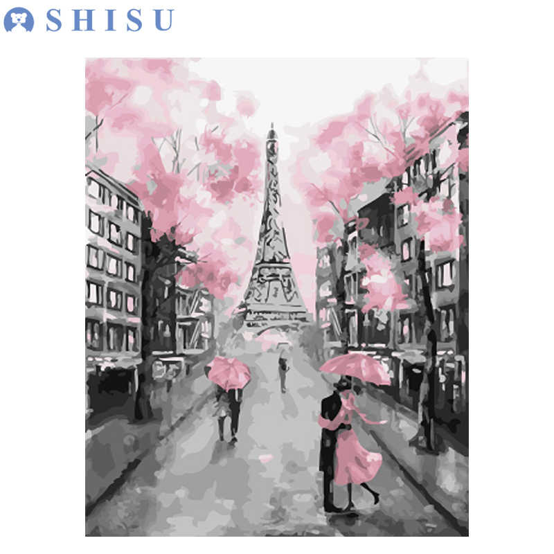 New DIY Pink Pari Tower Drawing Landscape Oil Acrylic Painting By Number on Canvas Framed Wall Picture Art for Home Decor