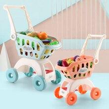 Toy Trolley Fruit-Food Basket Push-Car-Toys Play-House Pretend Kids 24pcs Simulation