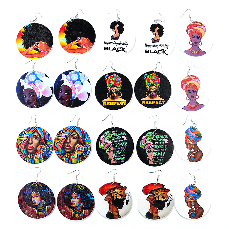 AENSOA Vintage Painted Africa Women Wooden Earrings Ethnic Statement African Round Wood Drop Earrings For Women Fashion Jewelry