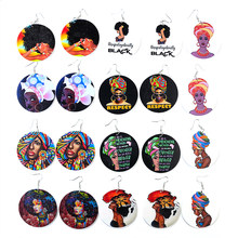 Aensoa vintage pintado áfrica mulheres brincos de madeira declaração étnico africano redondo brincos de gota de madeira para a moda feminina jóias