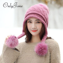 Dilidala 2019 Winter Hats For Women Elegant Wool Hat Korean Version New Rabbit Fur Ball knitted Hat Female Student Fashion Wild Warm Thick Wool Hat(China)