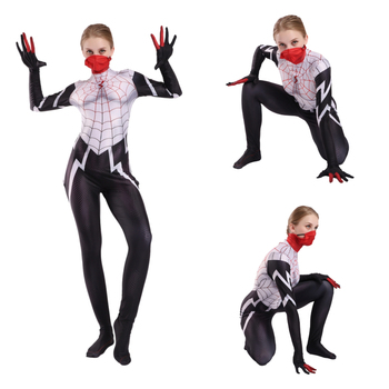 2020 Gwen Stacy Black Spider Women Cosplay Costume Spider Zentai Superhero 3D Printing Jumpsuit Halloween Costume Anime Adult 2020 the amazing spider hero cosplay gwen stacy costume spandex zentai mask hoodie spider zentai suit anti gwenom for women girl