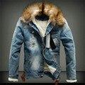 2019 heißer männer Jacke warme denim Jacke Pelz Kragen Retro Jeans Jacke und Mantel für herbst winter-in Jacken aus Herrenbekleidung bei
