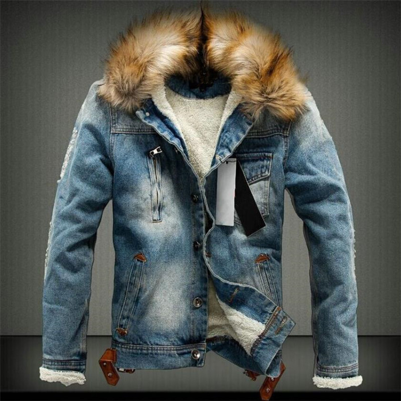 2019 Hot Men Jacket Warm Denim Jacket Fur Collar Retro Jeans Jacket And Coat For Autumn Winter