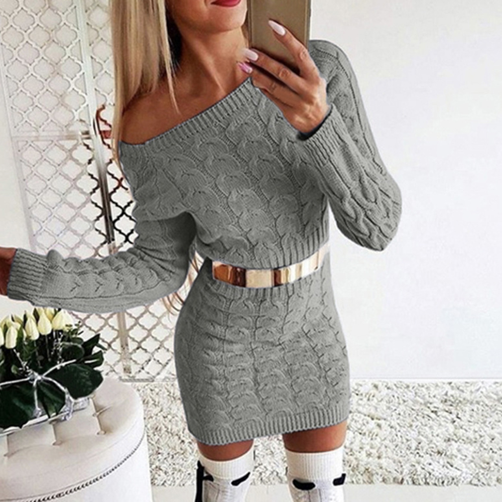 Puimentiua Sexy Bodycon Mini Sweater Dress Women Casual Knitwear Autumn Winter Warm Knitted Dress Femme Slim Short Club Vestidos