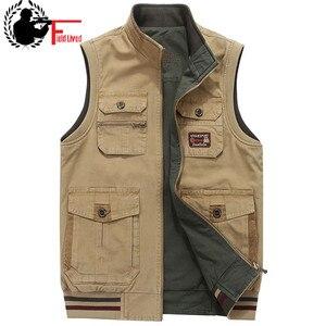 Image 1 - Colete dos homens Roupas Militares Do Exército Tático Muitos Bolsos do Colete Jaqueta Sem Mangas Plus Size 6XL 7XL 8XL 9XL grande saco de Viagem Masculino casaco