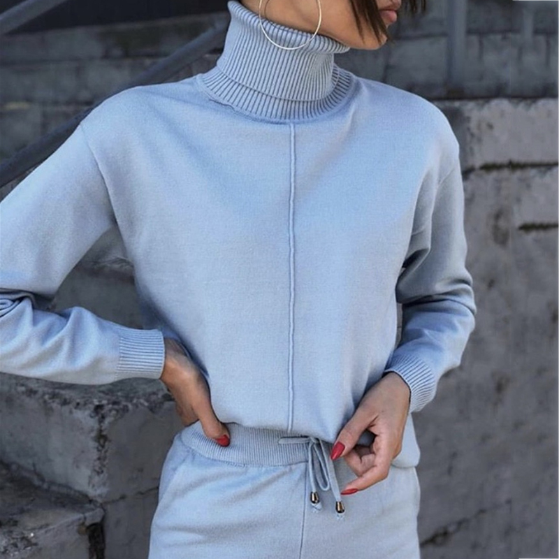 Autumn And Winter Fashion Casual Women's Knit Tops Suit Sportswear Wool Knit Suit