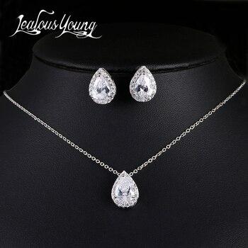 Nigerian Water Drop Cubic Zirconia inlay Luxury Crystal Bridal Jewelry Set