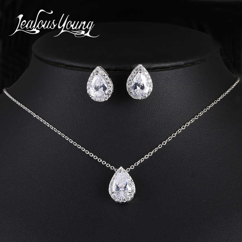 Nigerian Water Drop Cubic Zirconia Wedding Jewelry Sets inlay Luxury Crystal Bridal Jewelry Set Gifts For Bridesmaids AS099