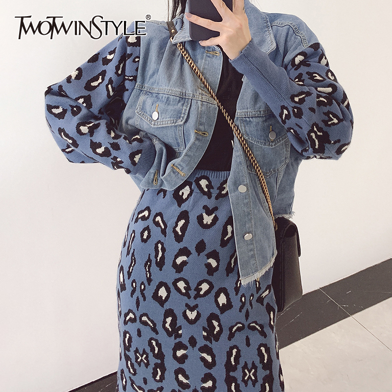 TWOTWINSTYLE Leopard Knitted Two Piece Set For Women Patchwork Denim Sweater High Waist Skirts Female Suit 2019 Autumn Fashion