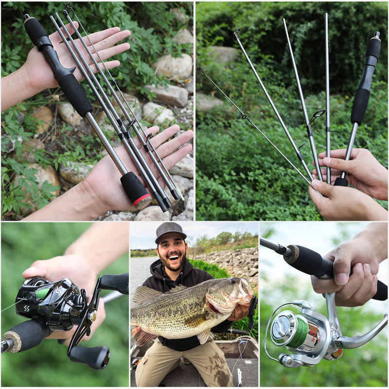 Sougayilang nouveau 5 Section Portable voyage canne à pêche poids ultra-léger Eva poignée filature/coulée pôle de pêche matériel de pêche