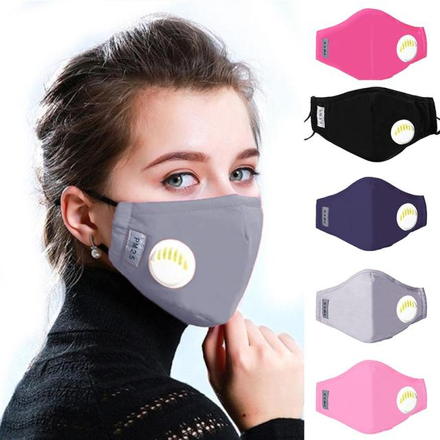 5pcs/lot PM2.5 Mouth Mask Anti-dust Mask with Valves Carbon Filters Masks Anti Pollution Windproof Washable Reusable Masks