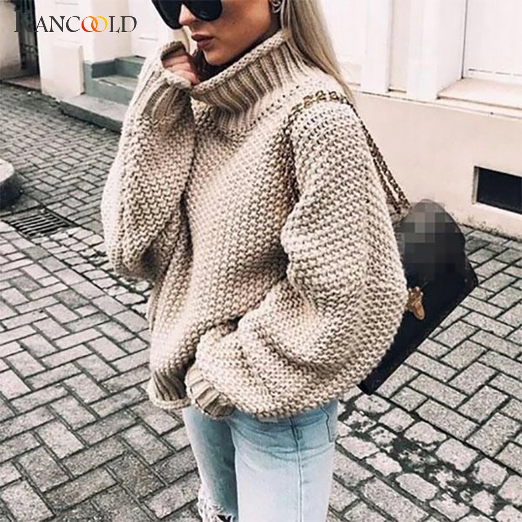 KANCOOLD Turtleneck Winter 2019 Knitted Sweater Women Pullovers Casual Orange Sweaters Loose Female Jumpers