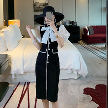 Summer Dress New Fashion 2020 Women's Peter Pan Collar Puff Sleeve Bow Patchwork Pearl Button Elegant Knee-length Black Dress