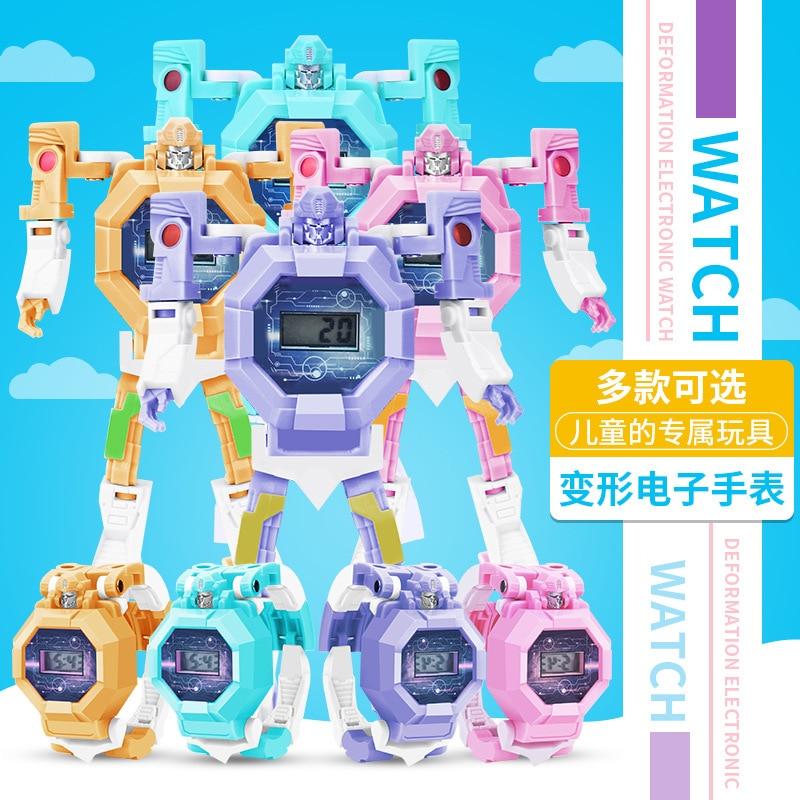 Children cartoon deformation robot watch toy boy girl model sports electronic watch gift toy