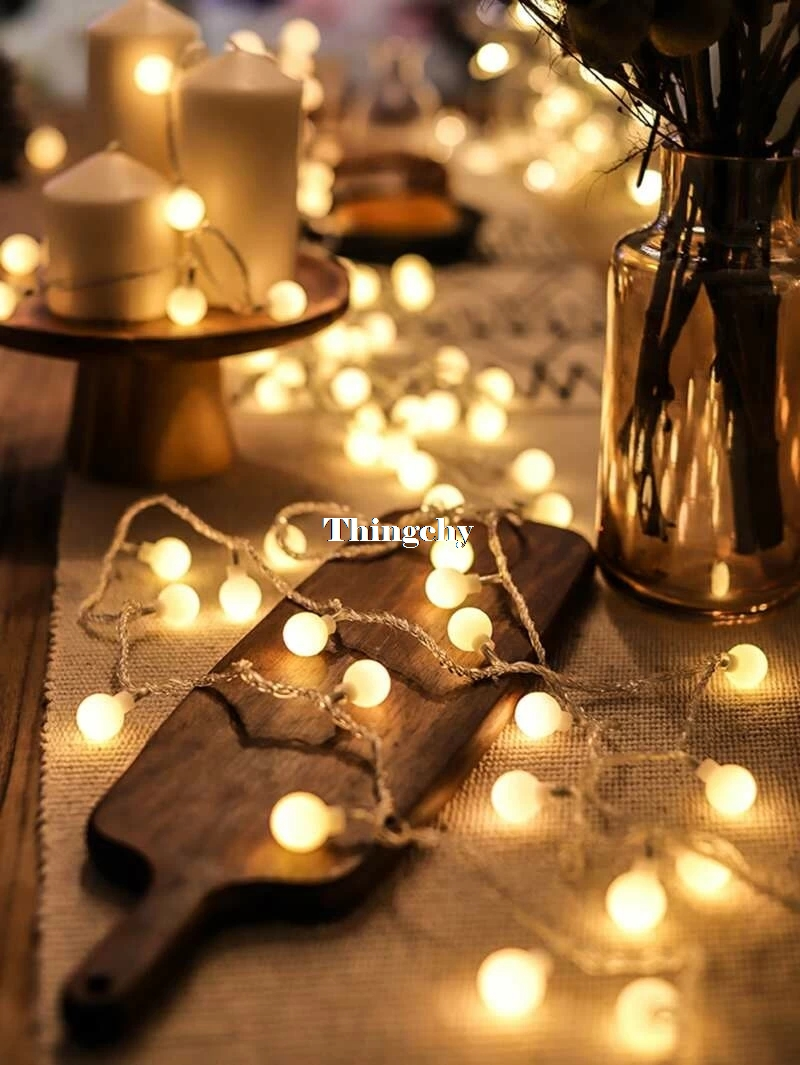 8/10M Cherry Ball Battery Led Fairy String Lights Decorative Lights For Wedding Christmas Party Garland Decoration Home Decor