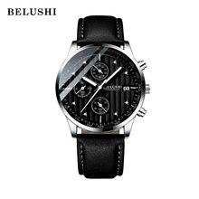 Reloj de cuarzo de lujo para hombre, deportivo, informal, de pulsera, militar, de cuero, resistente al agua hasta 30M