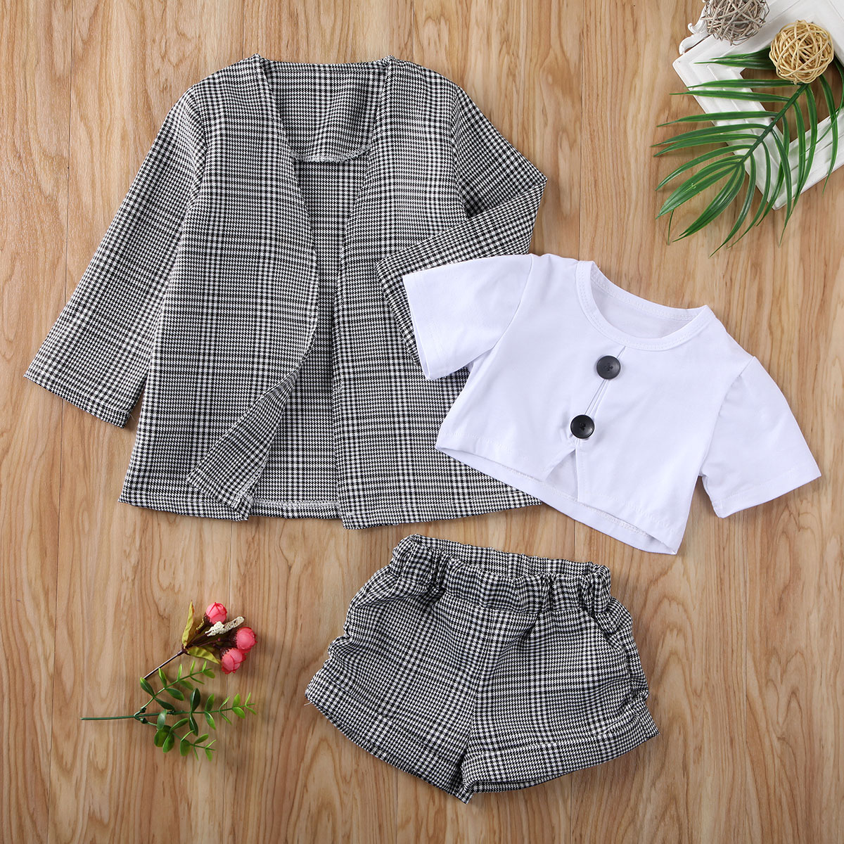 Pudcoco Toddler Baby Girl Clothes Solid Color Crop T-Shirt Plaids Long Sleeve Coat Tops Short Pants 3Pcs Outfits Clothes
