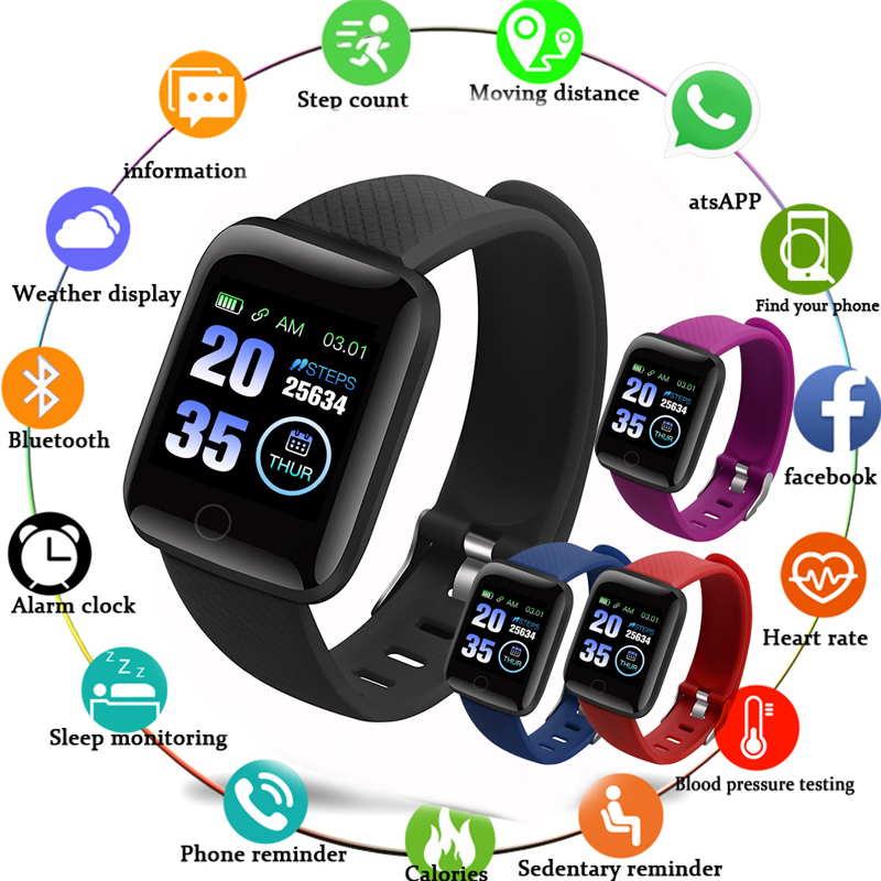 Tela Colorida Pulseira Inteligente Relógio Do Esporte Da Aptidão IP67 Schnoah Rastreador Atividade da Pressão Arterial Para Mulheres Dos Homens relógios À Prova D' Água