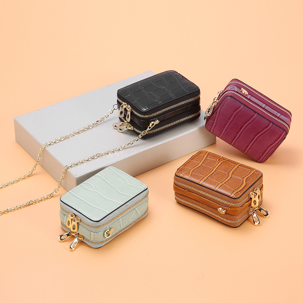 Fashion Alligator Pattern Genuine Leather Lipstick Bag Mini Chain Messenger Bag Versatile Cards Women Cosmetic Bags With Mirror