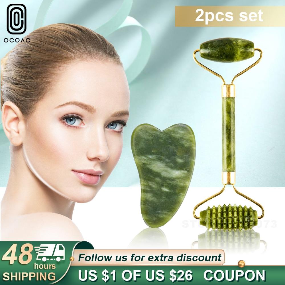 2PC פנים לעיסוי ירוק ירקן רולים פנים טיפוח עור כלים טבעי אבן גואש מגרד עבור פנים יופי עיסוי רולר סט
