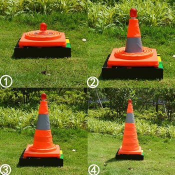 4cm5/50cm/65cm Reflective Traffic Cone NEW Folding Collapsible Orange Road Safety Cone Traffic Pop Up Parking Multi Purpose 5